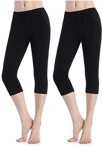 Damen Schwarze Hosen Capri Unter Rock Kurze Leggings Sommer 3/4 Shorts Workout
