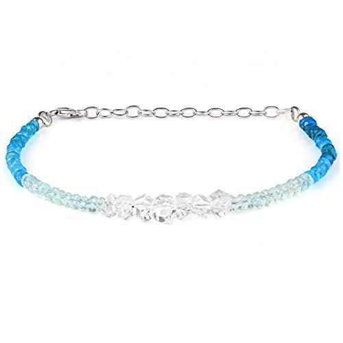 Herkimer Diamond Bracelet, Aquamarine Bracelet, Beaded Aquamarine Bracelet, Neon Apatite Bracelet Multi Stone Bracelet, June Birthstone Bracelet For Her