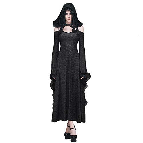Victoriaanse Zwarte Vintage Chic Lady Elegante Lange Jurk, Vrouwen Punk Kant Bloemen Coctails Party Fancy Off Schouder Rok, Klassieke Dame Een Lijn Jurk