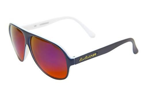 BluBlocker Aviator Sonnenbrille mit Spiegelgläsern Navy blau Groß