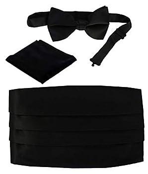 Gioberti Men s Adjustable Satin Cummerbund Set With Formal Bow Tie and Pocket Square Black