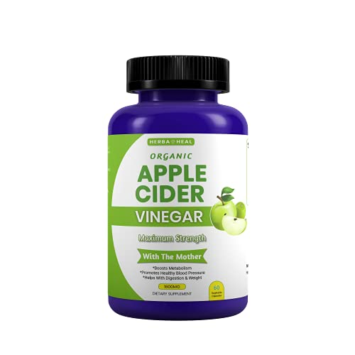 Organic Apple Cider Vinegar Capsules 1600MG with The Mother, Lemon Powder, Inulin & Cayenne Pepper for Weight Loss & Detox - ACV Pills Bloating Relief Metabolism Booster
