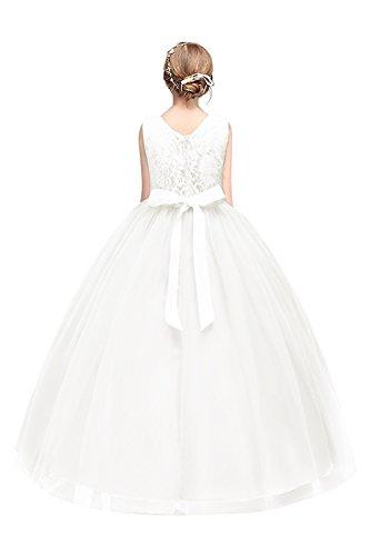 MisShow- Kinder Tüll Hochzeitskleid Blumenmädchenkleid Weiß Gr.140