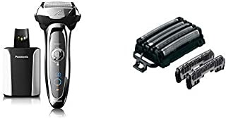 Panasonic ARC5 Electric Razor for Men, 5 Blades Shaver & Trimmer, Shave Senor Technology, Automatic Clean & Charge Station, Wet Dry and Men's Electric Razor Replacement Inner Blade & Outer Foil Set