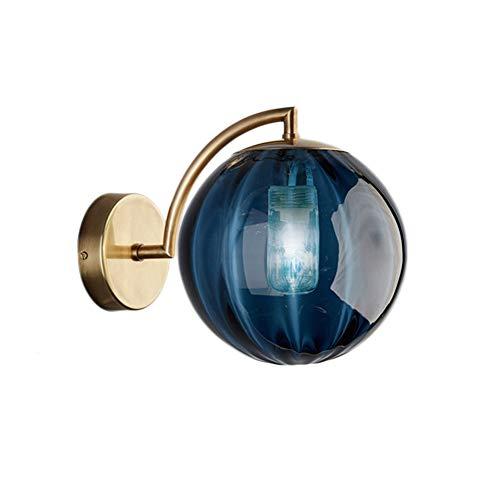 LFsem Nuevo Nórdico Moderno Aplique de pared Ø15CM Bola de Vidrio Azul Apliques pared Soporte de Metal Lámpara de pared (Azul)