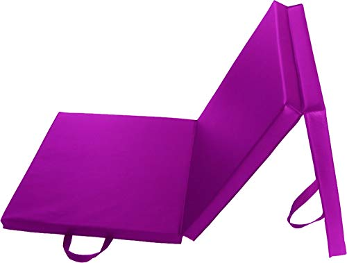 Tri-Folding Exercise Mat Thick with Carrying Handles for Pilates Judo MMA Dance Gymnastics Home or Gym Training 180x60cm (Purple) from Generic