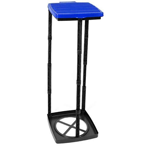com-four® Porte-Sac Poubelle avec Couvercle, montable à 3 hauteurs différentes, Bleu