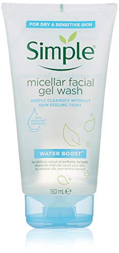 Simple Facial Gel Wash Cleanser, Water Boost Micellar For Dry Or Sensitive Skin, 5 Ounce (Pack Of 6)