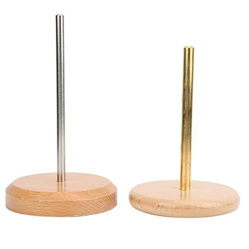 HeepDD Kabelhaspel, metalen buishouder, draaibare sokkel van hout, klassiek houtdraad, filament en kabelhouder, accessoires voor breien en thuis