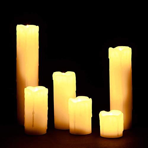 Relaxdays 6 Velas Led, Eléctricas, A Pilas, Navidad, Decoración, Luz Centelleante, Sin Llama, Cera, Ø 5 cm,...