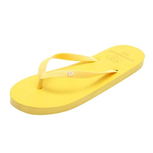 Yourgod Verano Pareja Moda Ardilla Casual Antideslizante Zapatos de Playa Sandalias Flip Flops Animal Sólido Playa Chanclas Antideslizante Zapatillas Casual Zapatos, color Amarillo, talla 36 2/3 EU