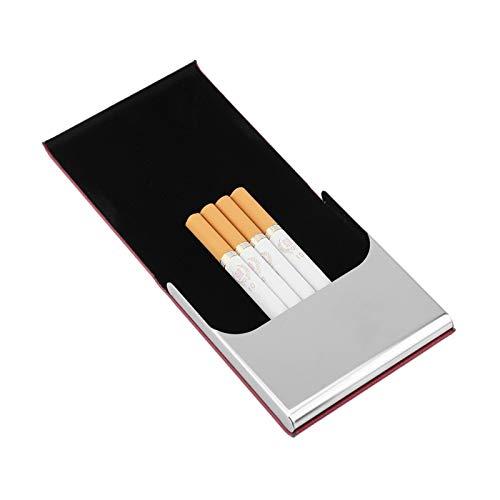 Emoshayoga Caja de Cigarrillos Multifunción Bien protegida Buena construcción sólida con Cuero de PU o Tarjetas de Visita para 10 Cigarrillos de tamaño Regular(Red Wine)