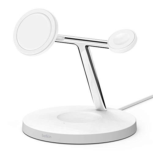 Belkin BoostCharge PRO - Cargador inalámbrico 3 en 1 (con MagSafe para iPhone 12, Apple Watch y AirPods, carga magnéticamente modelos de iPhone 12 con hasta 15 W) blanco