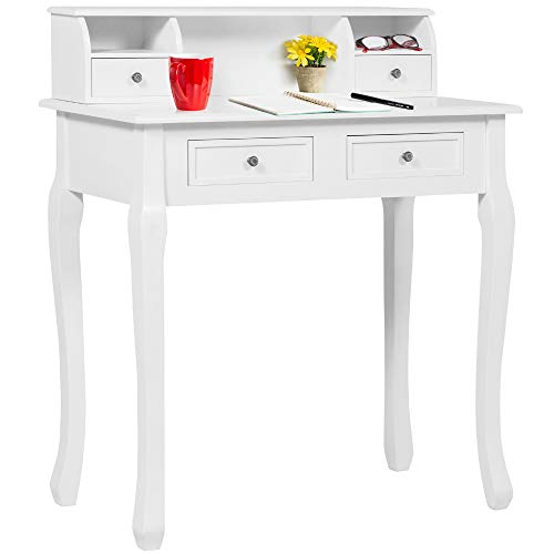 Best Choice Products 32in Wooden Colonial Writing Desk Station for Home Office Study w/ 4 Drawers, 2 Cubbies, Floating Hutch - White