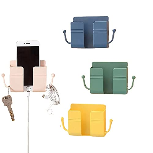 ZERITED 4PCS Remote Control Mobile Phone Plug Wall Holder,Multifunction Wall Mounted Storage Organizer Box with Hook