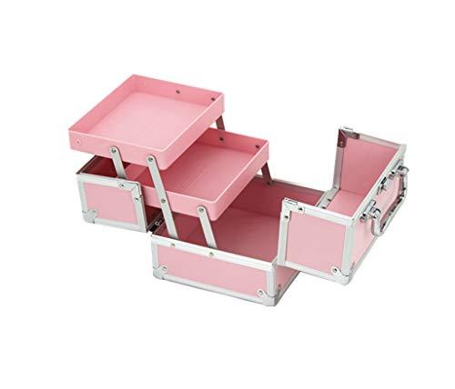 C-J-Xin débutant Cas cosmétique, Ménage imperméable petit portable Multi-couche maquillage Boîte à outils 18 * 16 * 14.5CM Rangement et organisation (Color : Pink)