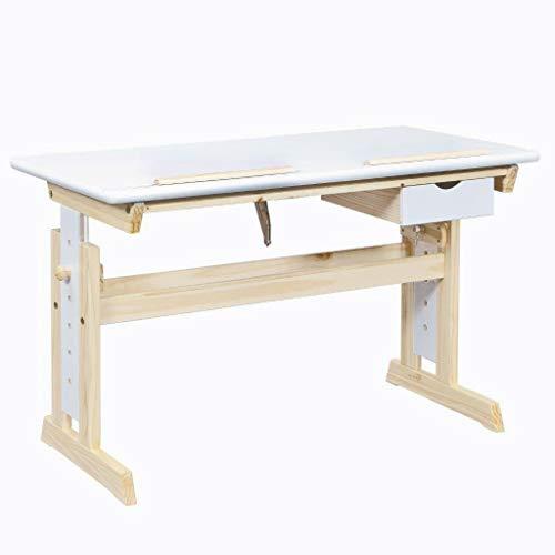 Inter Link Ergonomischer Kinderschreibtisch Höhenverstellbar Neigbare Tischplatte MDF weiß...
