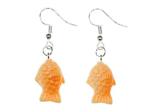 Miniblings Fische Ohrringe Fisch Orange Keks Taiyaki Wasser - Handmade Modeschmuck I Ohrhänger Ohrschmuck versilbert