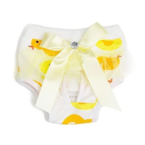 Pañal para Perros pequeños, algodón Lavable, Pantalones menstruales para Perros, Suministros menstruales, Almohadillas cómodas para Perros (Color : Yellow, Size : Large)