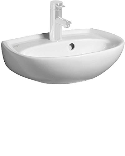 Keramag Handwaschbecken Renova Nr. 1, 273045, Waschtisch mit Überlauf, 45 x 34 cm, Weiß, 03875 1