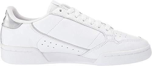 adidas Originals Continental 80, Zapatillas Mujer, Blanco, Blanco, Plateado metálico, 36 2/3 EU