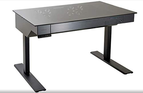 Lian-Li dk-04X schwarz, metallisch–Desktop (Glas, Aluminium, schwarz, metallisch, 100kg, 1200mm, 750mm