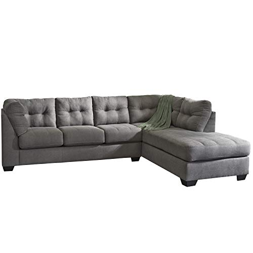 Flash Furniture Benchcraft Maier Sectional with Right Side Facing Chaise in Charcoal Microfiber