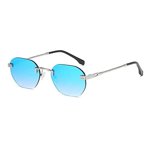 LUOXUEFEI Gafas De Sol Gafas De Sol Cuadradas Sin Montura Para Hombre, Gafas De Sol Sin Marco Con Espejo Para Mujer, Azul, Rojo, Verde, Gafas