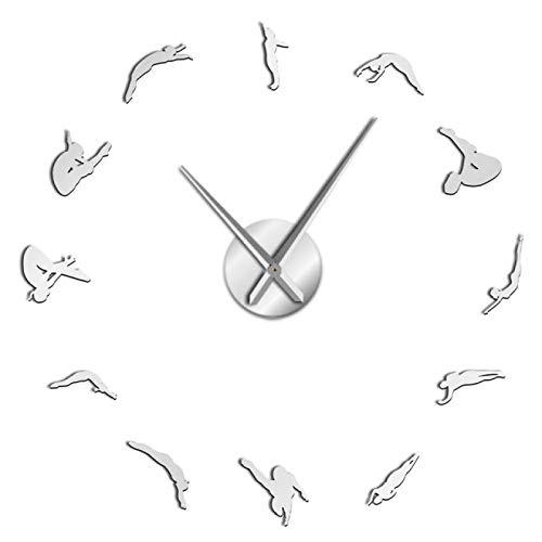 xinxin Reloj de Pared Mujer Moderna Buceo Deporte DIY Acrílico 3D Reloj de Pared Reloj de Cuarzo Reloj con Pilas Reloj Efecto Espejo Regalo para Atleta para Sala de Estar y Dormitorio, etc.