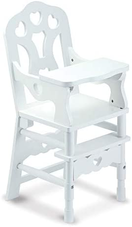 Melissa Doug White Wooden Doll High Chair with Tray 14 75 X 25 X 14 In E Commerce Packaging product image