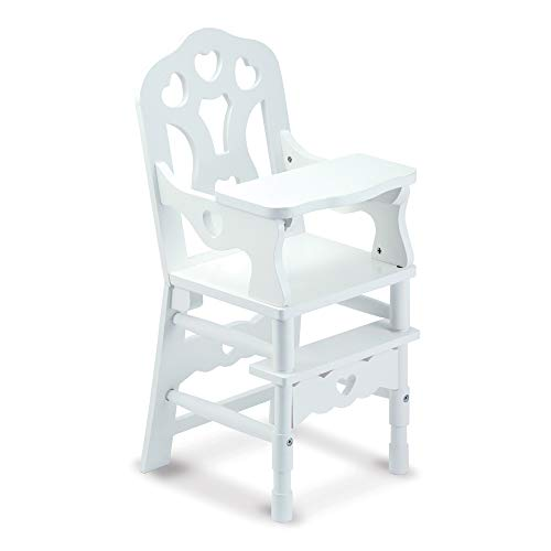Melissa & Doug White Wooden Doll High Chair With Tray, 14.75 x 25 x 14 in (E-Commerce Packaging)