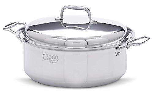 360 Cookware ID006-PC Premium Waterless Stainless Steel 6 Quart Stockpot with Cover Stock Pot, Silver
