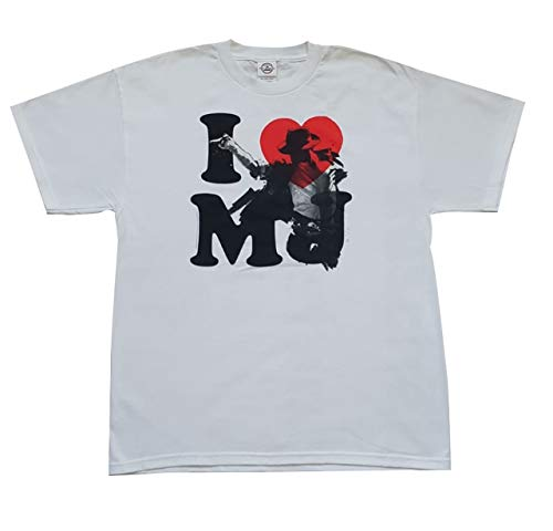 Bekleidung, Oberteil I Love MJ T-Shirt Weiß (Michael Jackson) Größe L aus 100% Baumwolle, Fanartikel