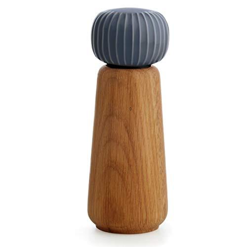 Hak Kähler Hammershoi Salz und Pfeffermühle aus Holz und Porzellan-Kopf, moderne Gewürzmühle 2er Set zum drehen mit Rillen-Design, Anthrazit Grau, 18.5cm