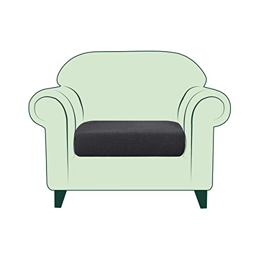 CHUN YI Copricuscino Divano Elasticizzato Copriseduta Protezione Cuscino del Divano per 1 Posto Sedia, Tessuto Jacquard Spandex Fodera per Cuscino (Sedia, Grigio)