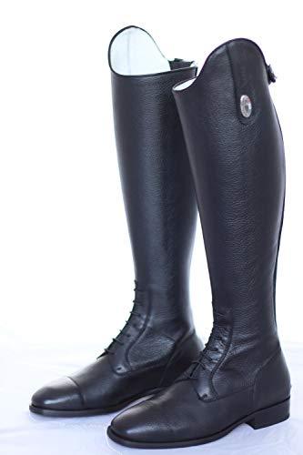 DeNiro Reitstiefel S3312, geschnürrt, Quick Black, inkl. Reinigungsschwamm, Größe:35, Schaft:MC - XXL
