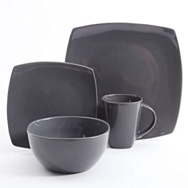 Gibson Home Soho Lounge Square Stoneware 16-piece Dinnerware Set - Gray