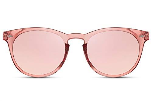 Cheapass Sonnenbrille Pink Transparent Verspiegelt UV-400 Hipster Festival-Brille Plastik Damen Frauen