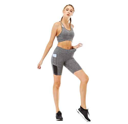 Conjunto de Ropa Deportiva para Mujer 2 Piezas Top Sujetador de Running sin Manga & Pantalones Cortos con Bolsillo de Cintura Alta con Bolsillo Yoga Gym Wear Fitness Entrenamiento (M, Conjunto Gris)