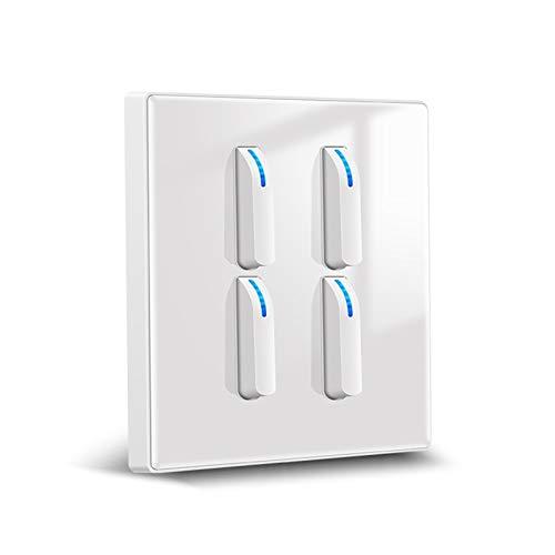 Foicags Interruptor de llave Moderno estilo Nórdico Rocker Blanco Interruptor de vidrio templado con interruptor de luz indicador LED para uso doméstico Interruptor de luz integrado para uso doméstico