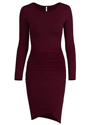 Missufe Women's Casual Long Sleeve Ruched Bodycon Sundress Irregular Sheath T Shirt Dress
