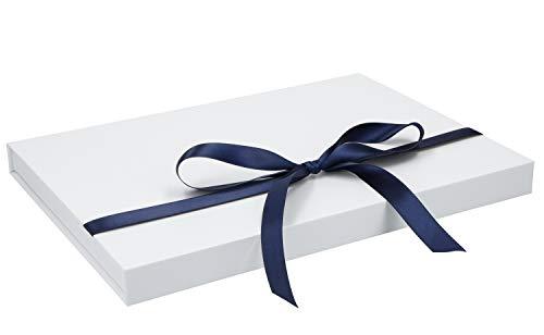 Magnetbox (A4) 30x21x2cm mit Geschenkband hochwertige Geschenkverpackung für Geburtstag, Weihnachten, Hochzeit Geschenke Schachtel, Artikel Farbe:weiß matt
