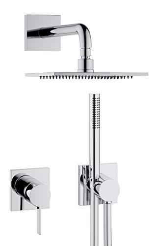 KEUCO IXMO Duschsystem 2 Verbraucher, Komplett-Set mit IXMO Einhebelmischer, Kopf- und Handbrause, Brause-Schlauch, Brause-Halter, eckige Rosetten