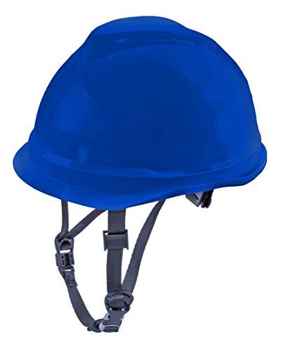 MSA V-Gard 520 Arbeitshelm mit Kinnriemen EN 397 - Einstellbarer Schutzhelm mit Schweißband - Elektrikerhelm und Bauhelm Farbe: Blau