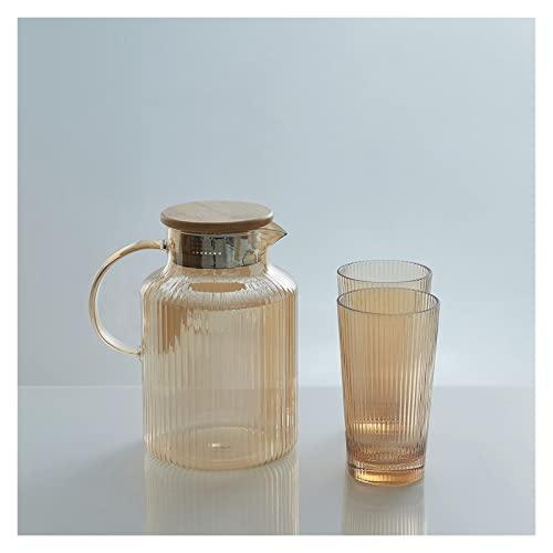 Jarra de Agua Lanzador de agua de vidrio conjunto de taza de agua Botella de agua Nordic Cocina Jugo Jugador de jarra Hogar Calental Resistente al calor Capacidad de gran capacidad Conjunto de teteras