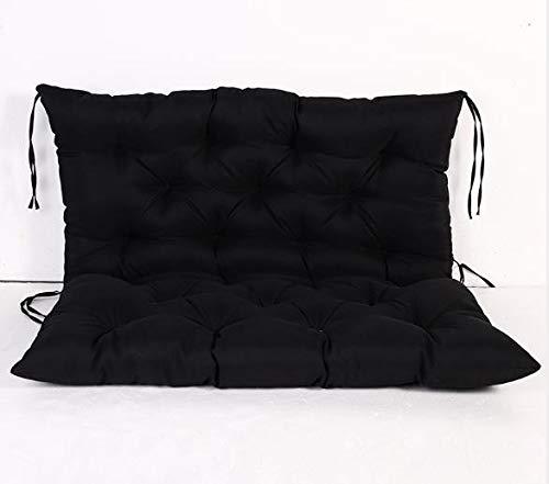 Lovemorebuy Cojín grande para asiento de jardín con lazos, funda para asiento trasero para columpio de jardín o sofá de jardín, impermeable (150 x 100 x 10 cm), color negro