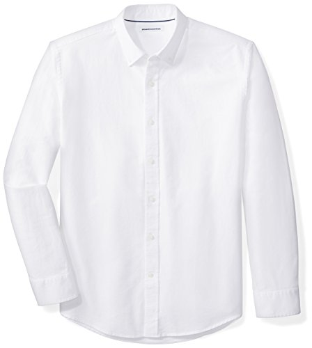 Amazon Essentials Regular-Fit Long-Sleeve Solid Oxford Shirt Camicia, Bianco (White), X-Large