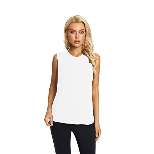 Camiseta Sin Mangas De Yoga para Mujer Sin Espalda Sin Espalda Camisetas Deportivas Fitness Yoga con Cuello Redondo Camiseta Deportiva para Correr (White, S)