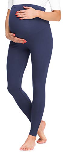 Be Mammy Mallas Leggins Premamá Largos BE20-257(Azul Marino, S)