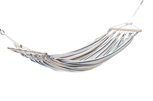 4betterdays.com NATURlich leben! Hamac simple de qualité supérieure en coton (blanc/bleu) - 300 x 130 cm - Charge maximale : 150 kg - Fabriqué à la main en Autriche